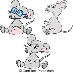 Cute cartoon mouse. vector illustration