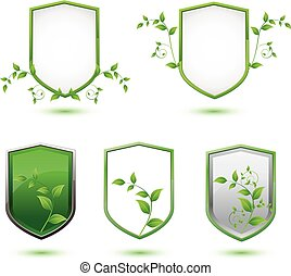 insulated shield banner with green leaves on a white...