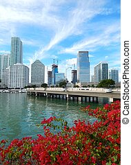 Brickell Key and Brickell Key Drive, Miami, Florida, USA