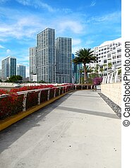 sidewalk along Biscayne Bay from brickell Key. Miami Florida