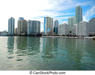 Downtown Miami along Biscayne Bay with Brickell Key in the...