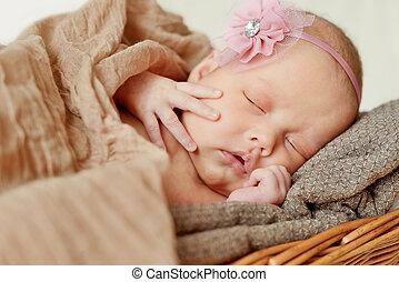 newborn girl - lovely newborn girl is sleeping