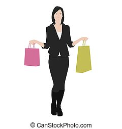 Vector drawing women with shopping bags