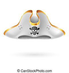 Pirate cocked hat - White cocked hat with pirate symbol of...