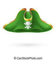 Pirate cocked hat - Green cocked hat with pirate symbol of...