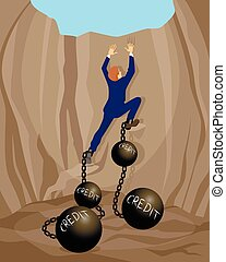 Man in debt hole - Vector illustration of a man in debt hole