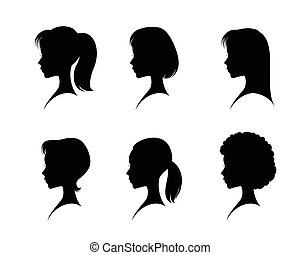 Silhouettes head girls - Vector illustration of a...