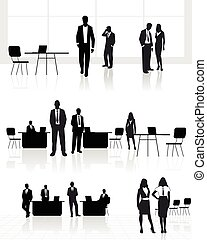 Group of people in office - Vector illustration of a group...