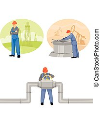Oilman background in infrastructure - Vector illustration of...