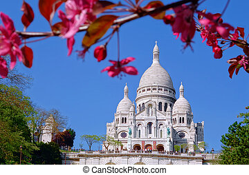 Sacre Coeur Cathedral during spring time in Paris, France -...