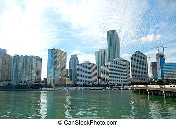 Downtown Miami view along Biscayne Bay from Brickell Key