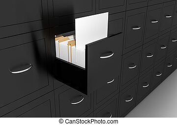 opened black file cabinet white empty documents illustration...