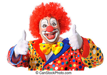 Clown - Portrait of a smiling clown giving thumbs up...