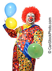 Clown - Portrait of a smiling clown with balloons isolated...