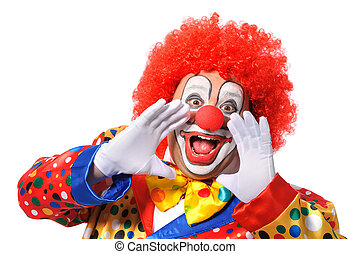 Clown - Portrait of a screaming clown isolated on white...