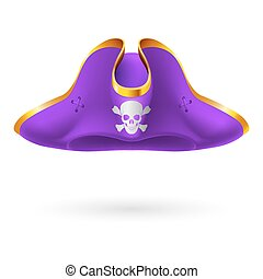 Pirate cocked hat - Violet cocked hat with pirate symbol of...