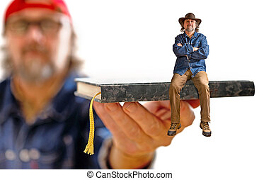 man with hat sitting on the book on the white background