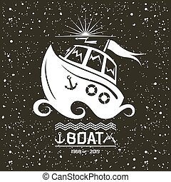 Brave small boat emblem - Illustration of a small boat...