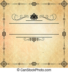 Grungel paper with decorative border and copy space for text.
