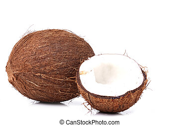 Coconut on the table - Coconut on a white background