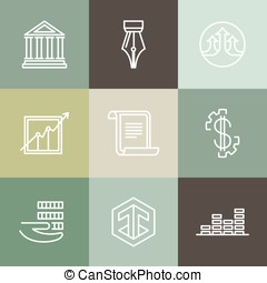 Vector line banking icons and logos - business and finance...