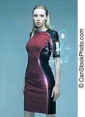 hermoso, futurista, mujer, con, virtual, proyección,