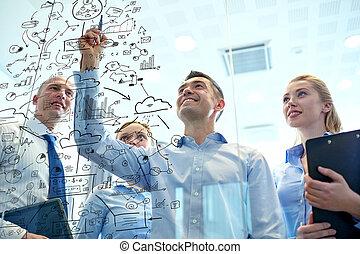 sorrindo, negócio, pessoas, com, marcador, e,...