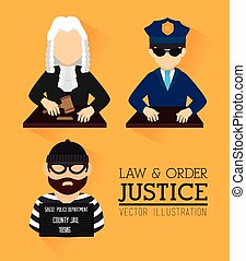 Law Design over yellow background, vector illustration