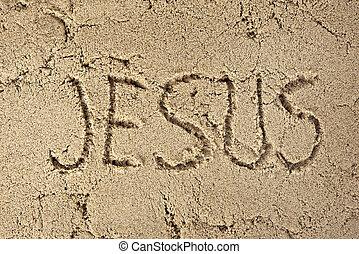 Jesús, escrito, en, playa, arena,