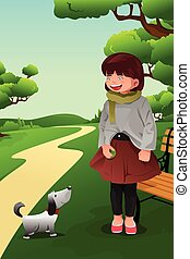 Girl playing with her dog - A vector illustration of cute...