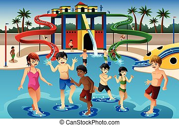 Kids playing in a waterpark - A vector illustration of happy...