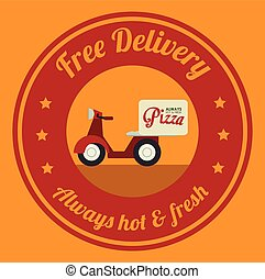 Pizza design, vector illustration - Pizza design over yellow...