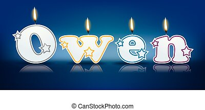 OWEN written with burning candles - vector illustration