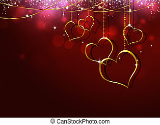 Golden Hearts Valentine Greeting Card