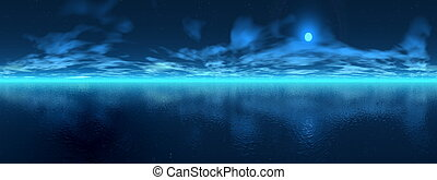 Night over ocean - 3D render