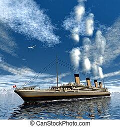 Titanic ship - 3D render - Famous Titanic ship floating...