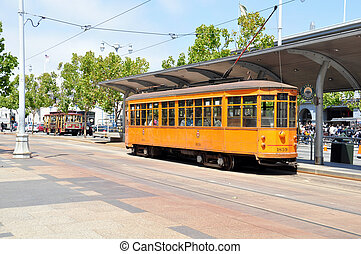 San Francisco street car - view of an historic San Francisco...