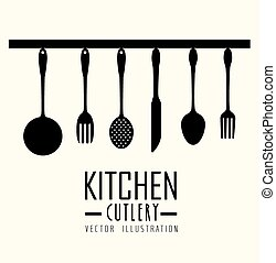 Kitchen design, vector illustration - Kitchen design over...