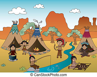 american indian village - illustration of american indian...