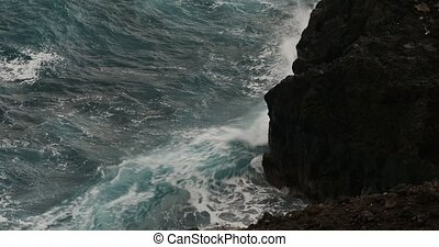 Dramatic water waves splashing - Dramatic wave action, heavy...