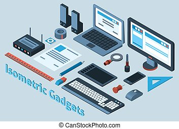 Isometric Gadgets Set - Isometric mobile gadgets set with 3d...