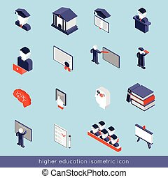 Higher Education Isometric Set - Higher education isometric...