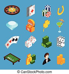 Casino Isometric Icons Set - Casino isometric icons set with...