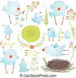 caricatura, diversión, y, lindo, bebé, Aves,...