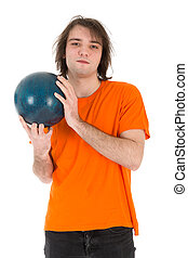 Man with bowling ball isolated on white background