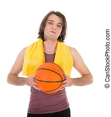Man in sports wear with basketball, isolated on white...