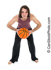 Man in sports wear playing basketball over white - Man in...