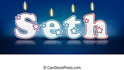 SETH written with burning candles - vector illustration