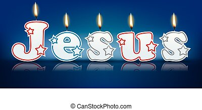 JESUS written with burning candles - vector illustration