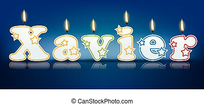 XAVIER written with burning candles - vector illustration